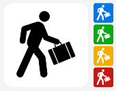 Businessman Traveling Icon. This 100% royalty free vector illustration features the main icon pictured in black inside a white square. The alternative color options in blue, green, yellow and red are on the right of the icon and are arranged in a vertical column.
