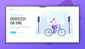 Businessman Traveling to Work by Bicycle Website Landing Page. Business Man Crossing Road by Crosswalk with Zebra Markup and Street Lights in City Web Page Banner. Cartoon Flat Vector Illustration
