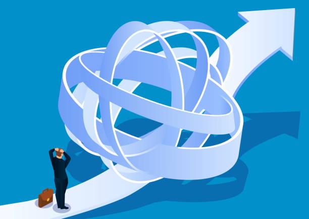 Geschäftsmann versucht, Ausstieg aus kompliziertem Weg zu finden – Vektorgrafik