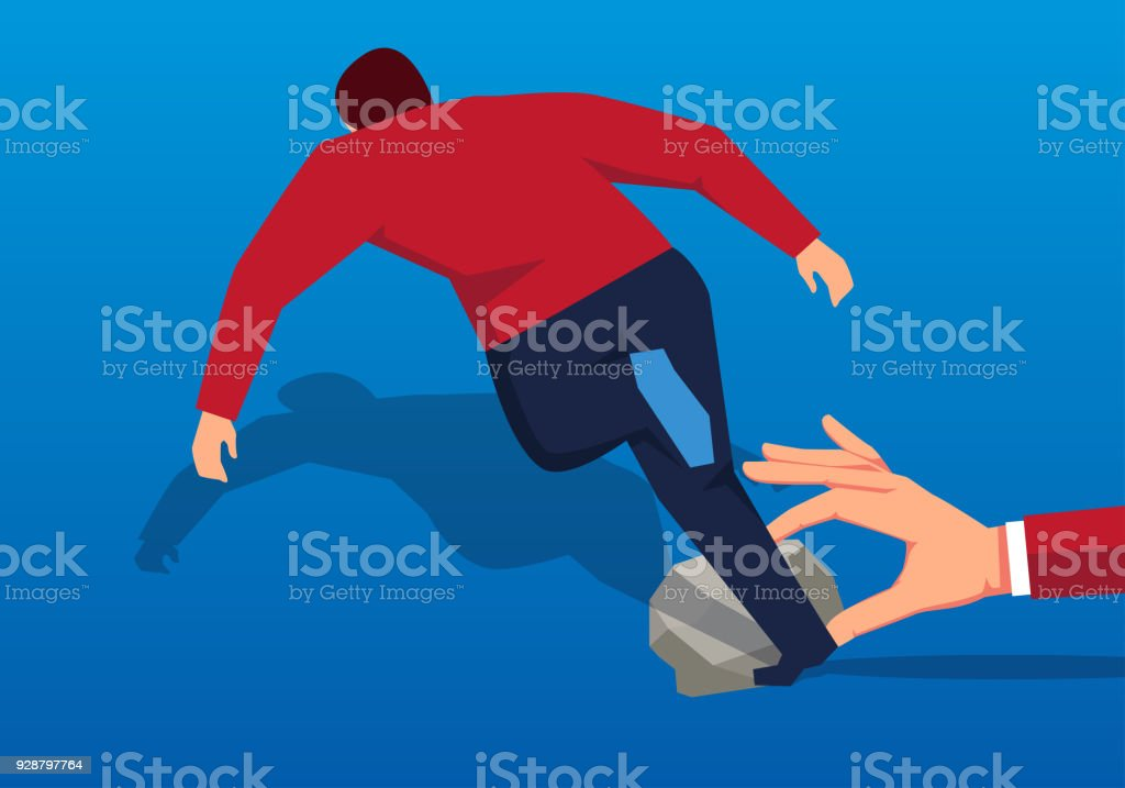 Businessman tripped over by stones vector art illustration