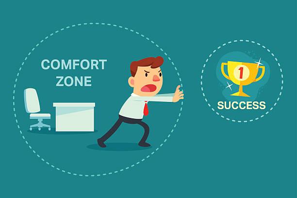 ilustraciones, imágenes clip art, dibujos animados e iconos de stock de empresario intentar grupos de zona de confort - comfortable