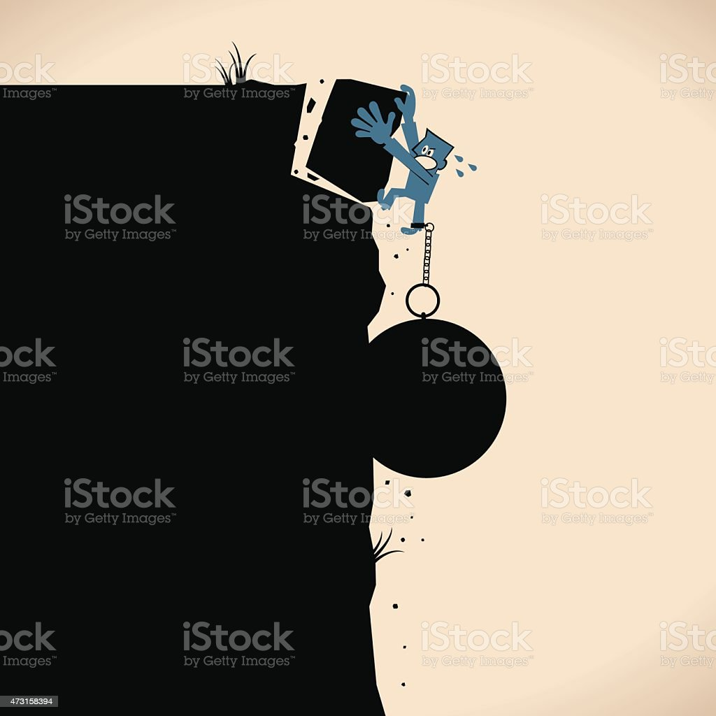 Businessman try to climb up ravine, falling from cracking cliff vector art illustration