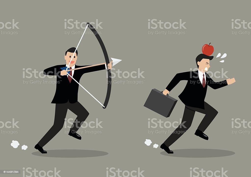 Businessman try to shoot at apple on colleague head vector art illustration