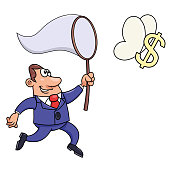 Businessman trying to catch a dollar sign