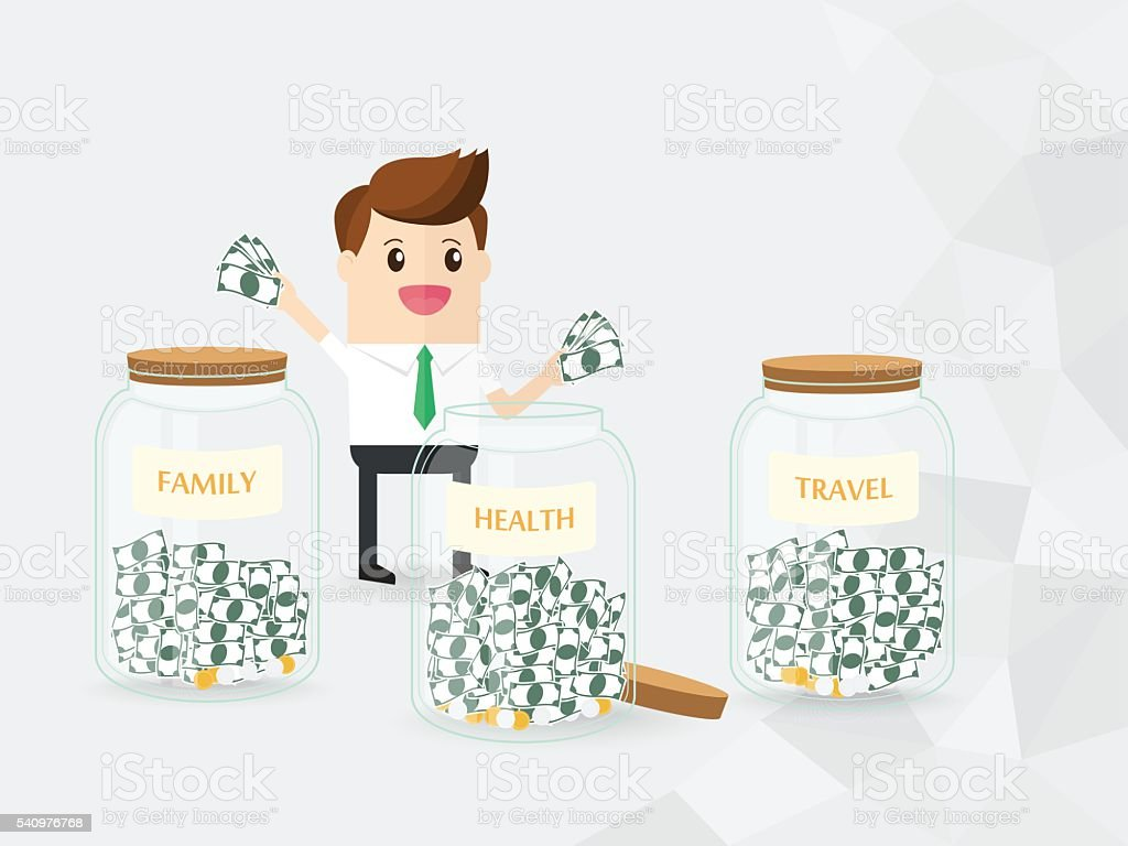 businessman trying to collect money in savings money jar