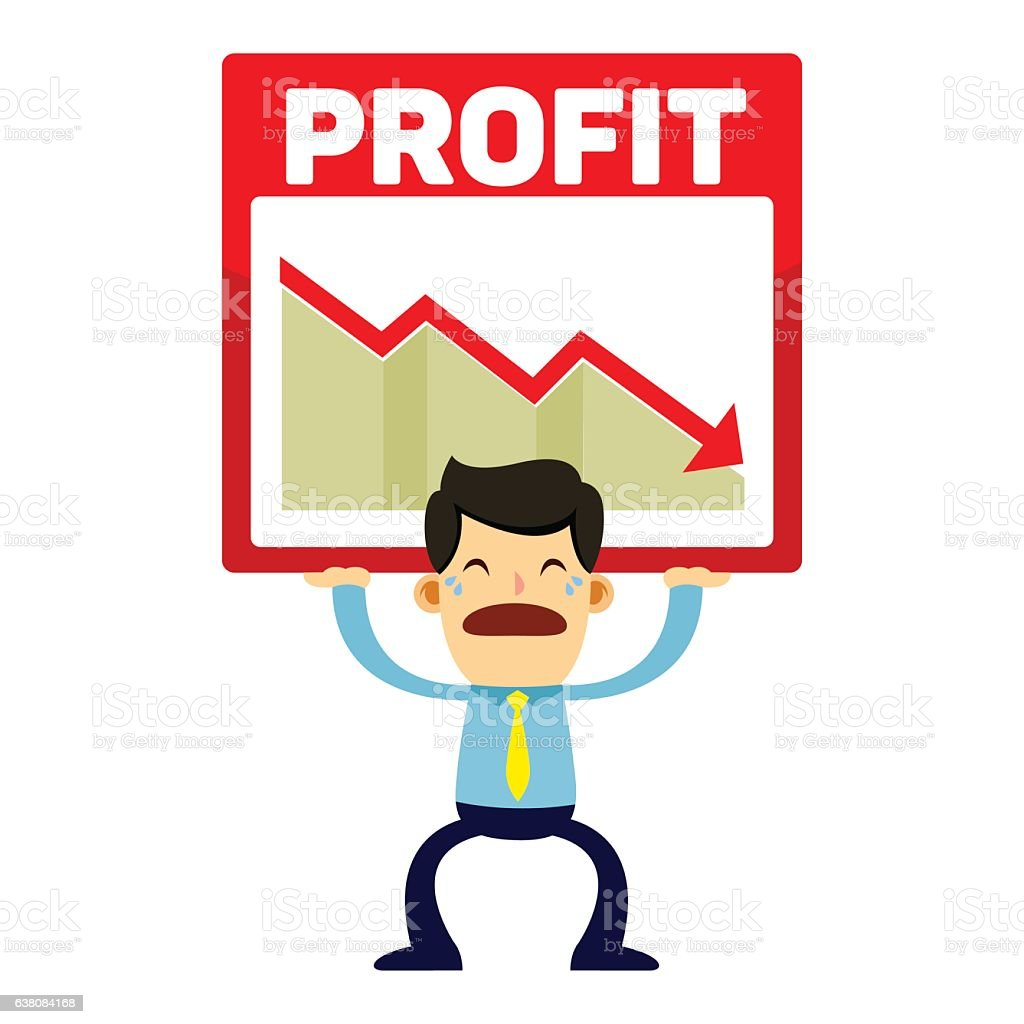 businessman trying to lift profit loss chart stock vector art more