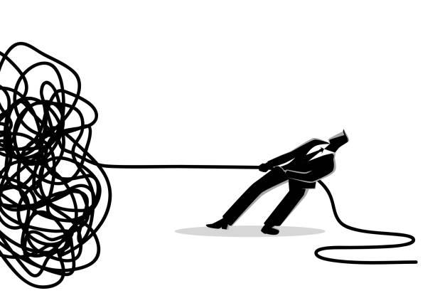 geschäftsmann versucht, verworrenen seil oder kabel zu entwirren - strickideen stock-grafiken, -clipart, -cartoons und -symbole