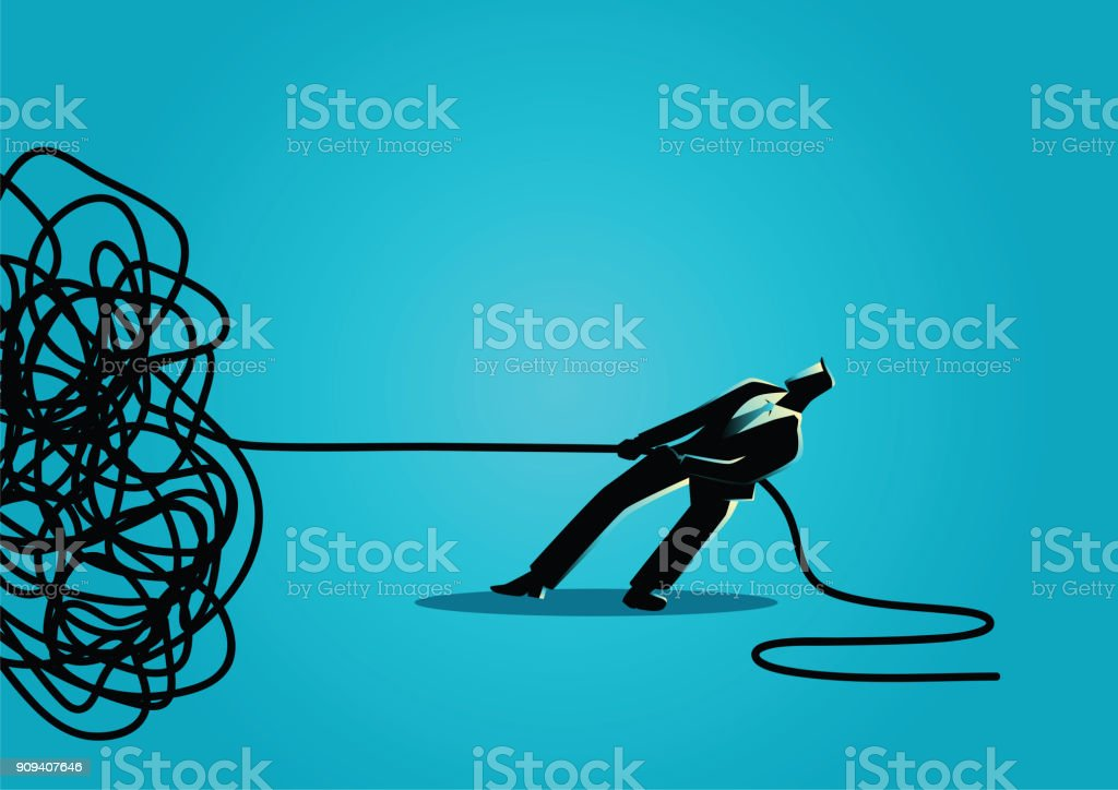Businessman trying to unravel tangled rope or cable