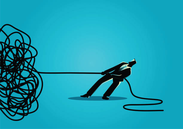 illustrazioni stock, clip art, cartoni animati e icone di tendenza di businessman trying to unravel tangled rope or cable - disordinato