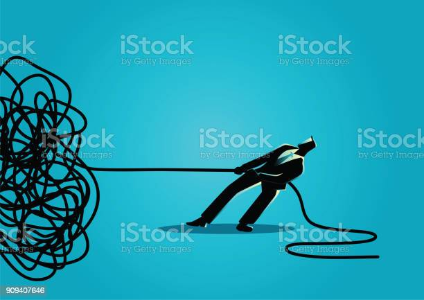Business concept vector illustration of a businessman trying to unravel tangled rope or cable