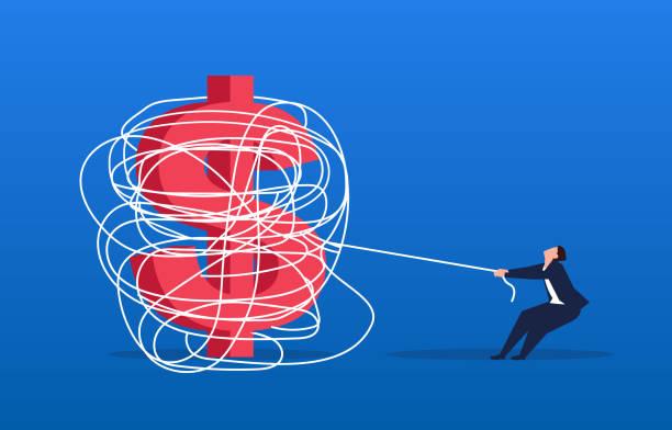 ilustrações, clipart, desenhos animados e ícones de homem de negócios que tenta desatar a corda que é envolvida com o dólar - amarrado