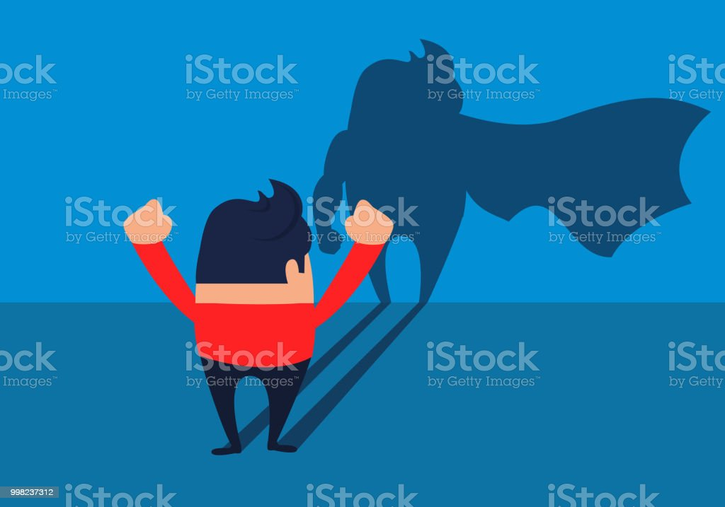 Businessman Turned Into A Superhero Vector Art Illustration