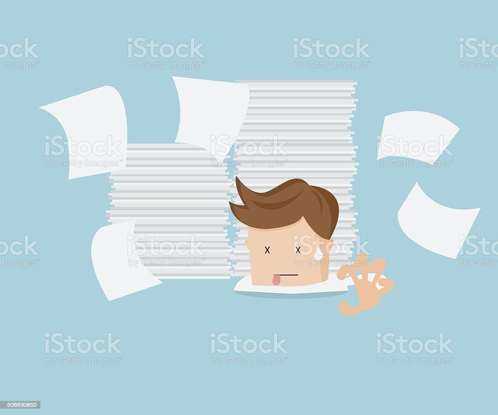 businessman under document vector art illustration