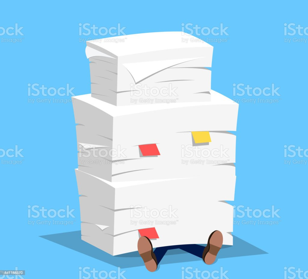 Empresario bajo la pila de papel, - ilustración de arte vectorial