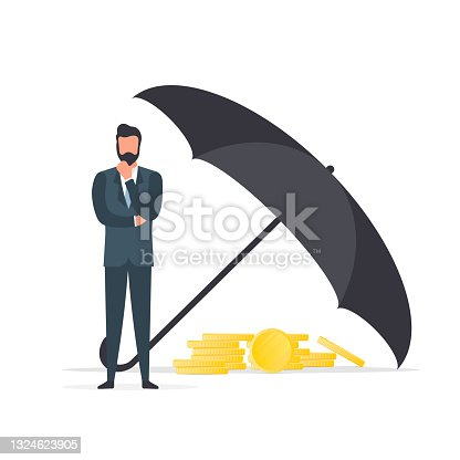 istock Businessman under the umbrella. Business conservation concept. Business is protected from risks. Isolated. Vector. 1324623905