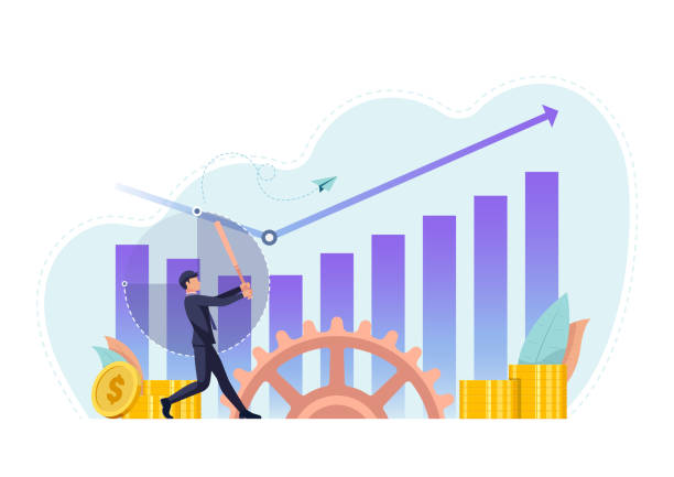 Businessman use baseball bat hit business chart rising up vector art illustration