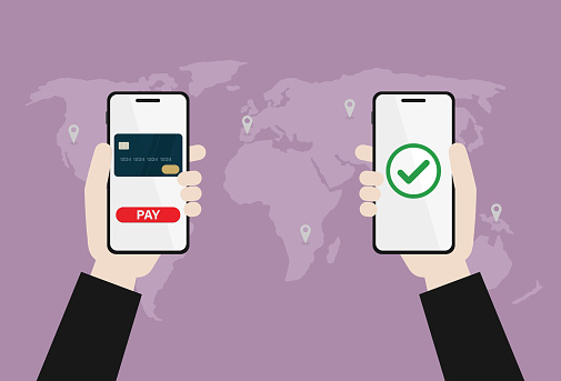 Businessman use online payment by mobile phone