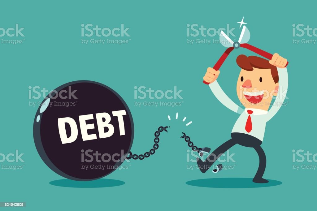 businessman use pliers to cut the chain and debt metal ball vector art illustration