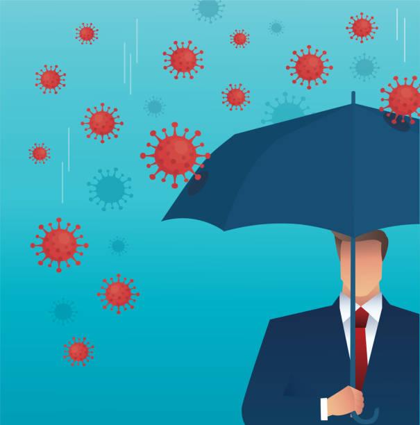illustrazioni stock, clip art, cartoni animati e icone di tendenza di businessman use umbrella to protecting coronavirus , covid-19 vector illustration eps10 - businessman covid mask