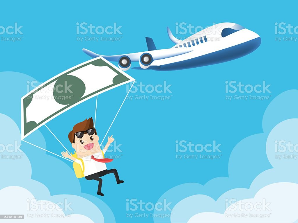 businessman used banknote like a parachute with airplane vector art illustration