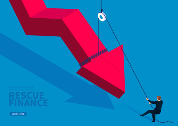 Businessman uses a fixed pulley to pull up the falling red arrow Businessman uses a fixed pulley to pull up the falling red arrow bailout stock illustrations