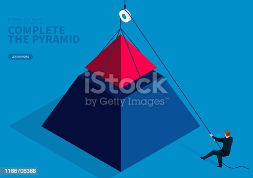 Businessman uses a pulley device to complete the pyramid puzzle