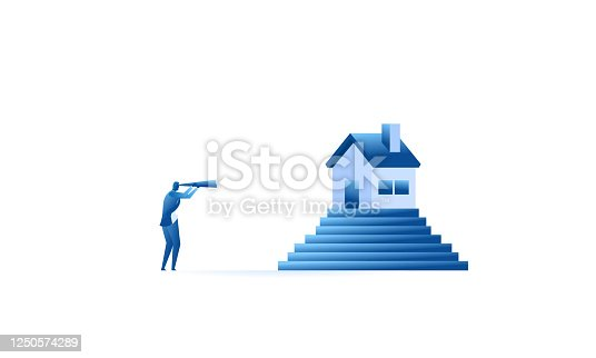 businessman uses a telescope to look for a house. concept illustration be careful before buying, Rent, or owe property Concept of business flat design