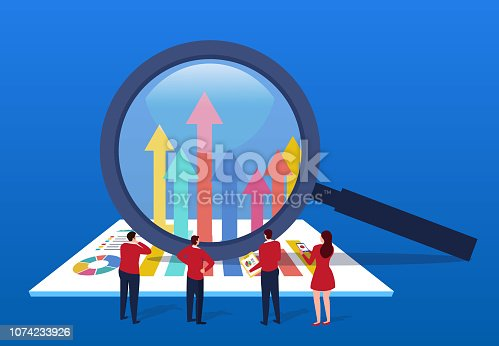 Businessman uses magnifying glass to change data arrow direction