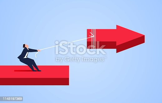 istock Businessman uses the rope to pull back the broken arrow 1145197369