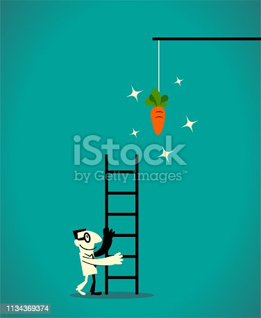 Business Man Characters with Glasses Manga Style Cartoon Vector art illustration.Copy Space, Full Length, White Background. Businessman using a ladder to catch the dangling carrot at the end of a stick.