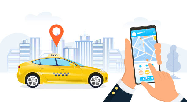 Businessman using a ride hailing app for a cab Businessman using a ride hailing app to order a taxi cab in a city street with a close up on his hands and mobile phone as a yellow cab pulls up under a location marker, vector illustration hailing a ride stock illustrations