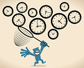 Blue Little Guy Characters Vector art illustration. Businessman using a sweep net to catch flying clock to gain more time (time management).