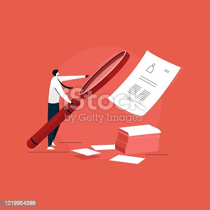 businessman using big magnifying glass for job recruitment, Job Vacancy vector, job hiring illustration, Business People Holding Magnifier Glass at Huge Billboard. Job Hiring, Vacancy, Recruitment, Agency Interview, Human Resources