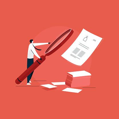 businessman using big magnifying glass for job recruitment, Job Vacancy vector, job hiring illustration