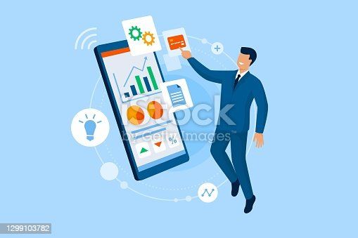 istock Businessman using financial apps on his smartphone 1299103782