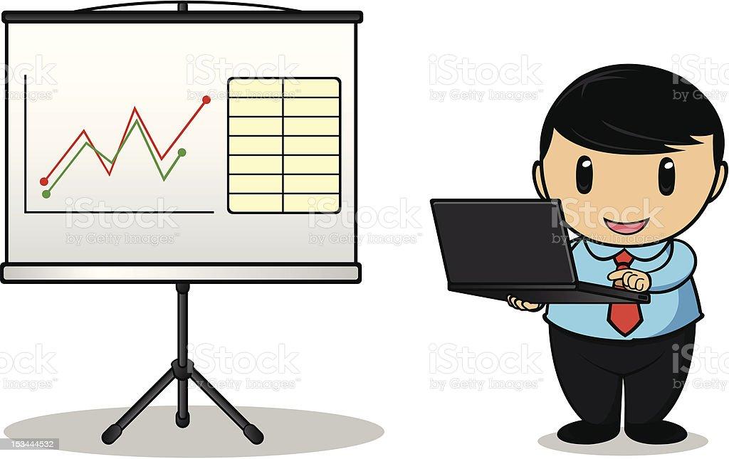 Businessman Using Laptop royalty-free stock vector art