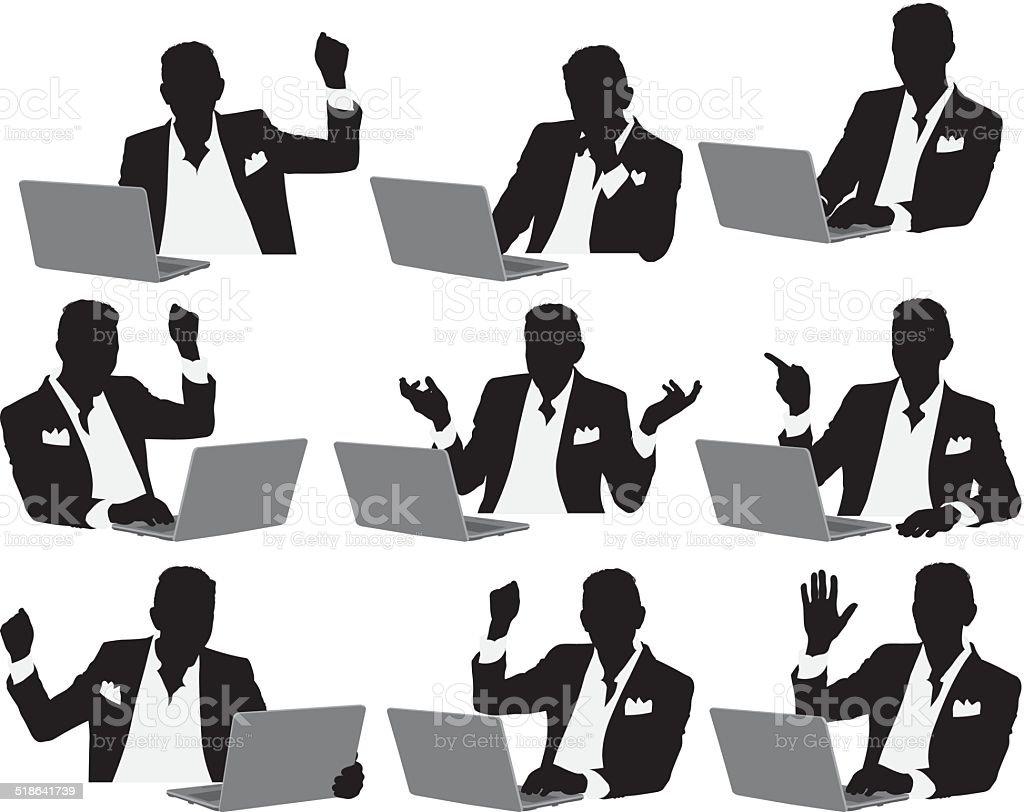 ビジネスマンノートパソコンを使う のイラスト素材 518641739 | istock