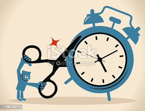 Blue Little Guy Characters Full Length Vector art illustration.Copy Space. Businessman using scissors to cut alarm clock, shorten the working time.