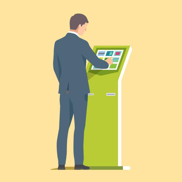 illustrazioni stock, clip art, cartoni animati e icone di tendenza di businessman using self service kiosk. vector illustration - stand