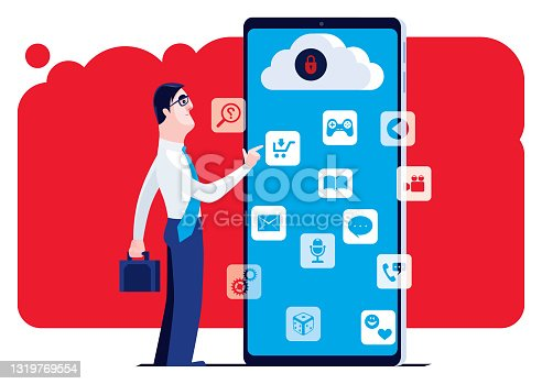 istock businessman using smartphone with safe cloud computing 1319769554