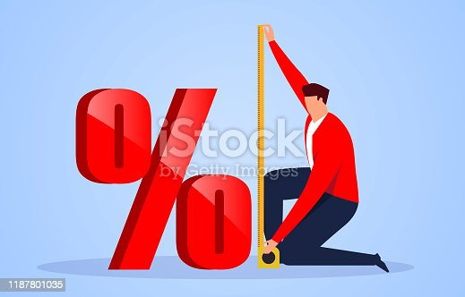 istock Businessman using tape measure to measure the height of the percentage symbol 1187801035