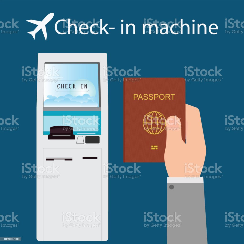 Businessman using the check-in machine. vector art illustration