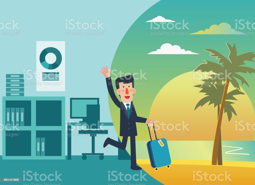 Businessman vacation. Holidays time. Beach sunset background royalty-free businessman vacation holidays time beach sunset background stock vector art & more images of adult
