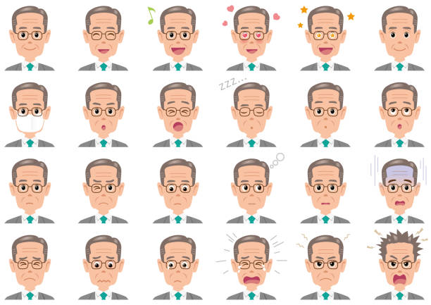 businessman various expressions set. - old man clipart stock illustrations, clip art, cartoons, & icons