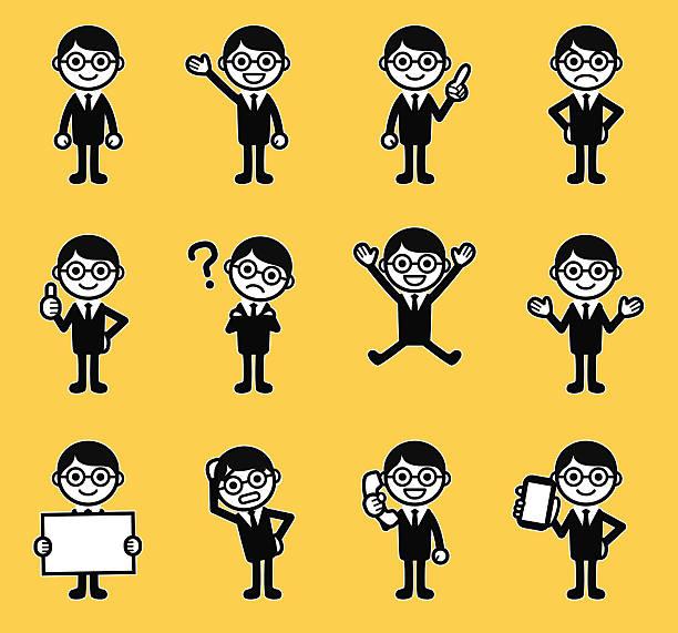 businessman - confused emoji stock illustrations, clip art, cartoons, & icons