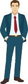 Smiling businessman holding hands in pockets. Vector illustration.
