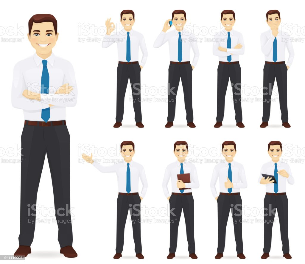 Businessman vector illustration set vector art illustration