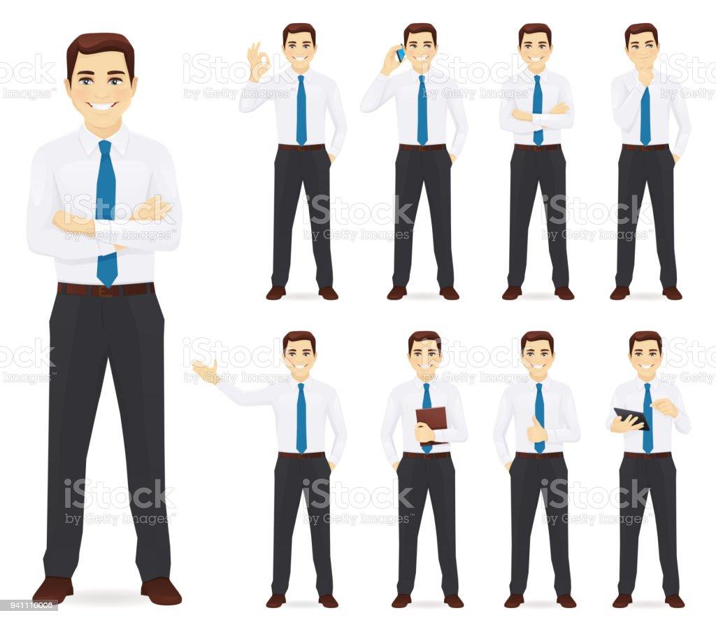 Homem de negócios conjunto de ilustração vetorial - ilustração de arte em vetor