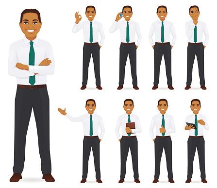 Businessman vector illustration set