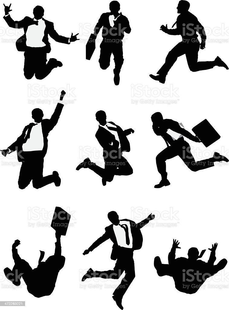 Businessman vector illustrations mid air jumping royalty-free stock vector art